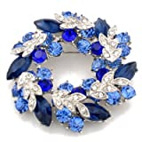 Sapphire Blue Wreath Austrian Crystal Pin Brooch