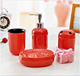 Popular Design Modern minimalist orange circular ceramic bathroom four-pieces set / couple Tumbler Set / wash supplies suits