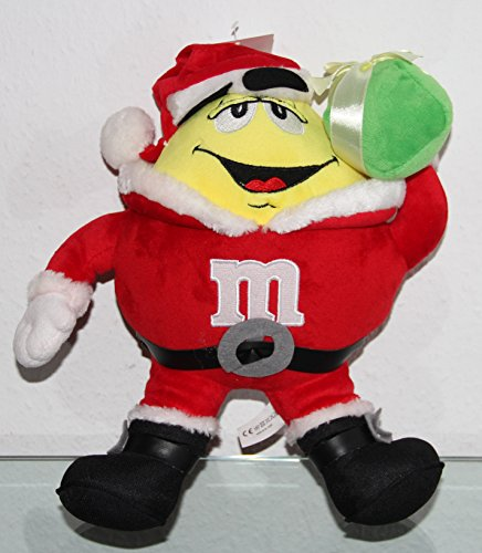mms-plush-yellow-as-santa-with-present-figure-christmas-approx-32-cm