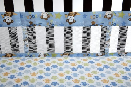 Little Bedding Born to Rock Secure Me Crib Liner (Discontinued by Manufacturer) - 1