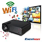 Excelvan® 2800 Lumens Wireless WIFI Internet Projector, Built in Dual Core Android 4.2 OS, Wireless Internet access, Online Cinema, Online Game, Ideal partner for your Blue-ray player, XBOX, PlayStation3 or other gaming console(Black)