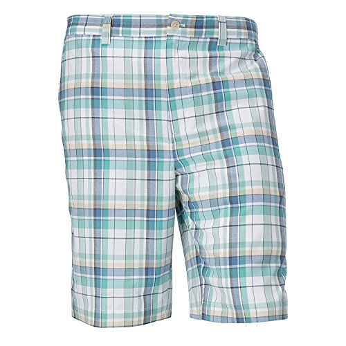 Cutter & Buck MCB01781 Mens Hales Plaid Flat Front Short, Multi-32
