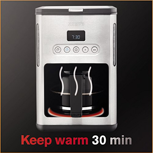 KRUPS KM442D Control Line Programmable Coffee Maker Machine with Stainless Steel Finish, 10-Cup ...