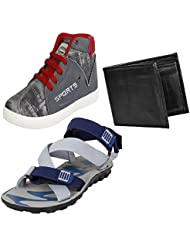 Bersache Men Canvas Combo Pack Of 3 Casual.Shoe & Sandal With Wallet
