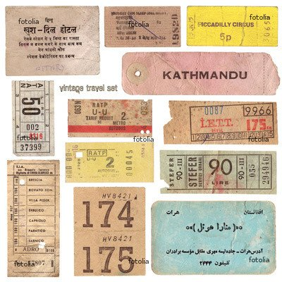 "Wallmonkeys Peel and Stick Wall Graphic - Vintage Tickets from around the World and Other Travel Documents - 36""H x 36""W"