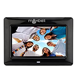 Maxbell 7 inch LCD Wired Digital Picture Photo Frame with USB Port Memory Card Reader Video Movies Playback Feature Built-in Speaker (Black)