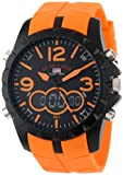 U.S. Polo Assn. Mens US9057 Analog-Digital Black Dial Orange Rubber Strap Watch
