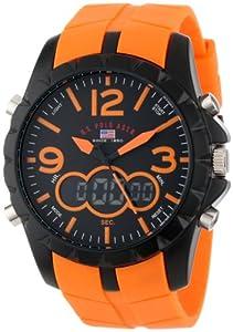 U.S. Polo Assn. Sport Men's US9057 Analog-Digital Black Dial and Orange Rubber Strap Watch