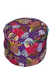 Rajrang Fruit Print Machine Quilted Ottoman Pouf Cover (Multi Color)