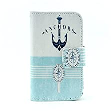 buy For Galaxy Young 2 G130H Case,[Gloryshop] Anchors Graphic,Fashion Style Wallet Case Magnetic Design Flip Folio Pu Leather Cover Case For Samsung Galaxy Young 2 G130H