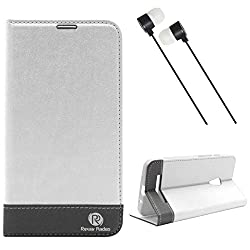DMG Asus Zenfone 5 Flip Cover, DMG PRaiders Premium Magnetic Wallet Stand Cover Case for Asus Zenfone 5 (White) + Black Stereo Earphone with Mic and Volume Control