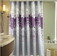 Melifereg Purple White Chrysanthemum Flower Shower Curtain Bath Curtains 180cmWX180cmH