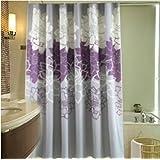 Melife® Purple White Chrysanthemum Flower Shower Curtain Bath Curtains
