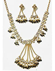 DollsofIndia White Stone Studded Necklace Set With Black Beads - Stone And Metal - White - B00T3QOIZU