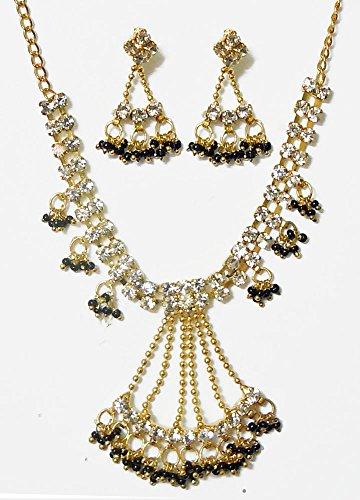 DollsofIndia White Stone Studded Necklace Set With Black Beads - Stone And Metal - White - B00T3QOIZU