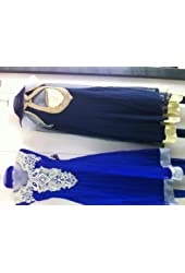 Women White with Sky Blue Cotton Churidar Kameez