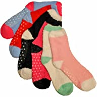Luxury Divas Two Tone Brightly Colored Warm & Fuzzy Assorted 6 Pack Socks