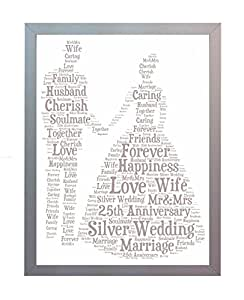 Silver Wedding Gifts For Friends : Framed Personalised 25th Silver Wedding Anniversary Word Art A4 Photo ...