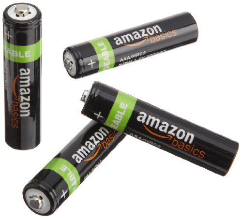 AmazonBasics AAA NiMH Precharged Rechargeable Batteries-4-Pack, 800 mAh