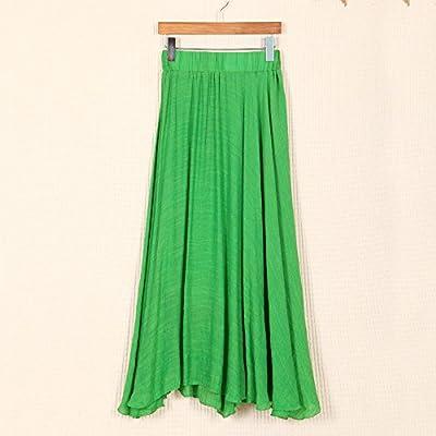 Women's Summer Elastic Waist Band Cotton Linen Mid Long Maxi Skirt