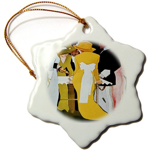 orn_181029_1 Florene - Art Deco And Art Nouveau - Image of ladies and gentleman with a bottle of alcohol on this poster - Ornaments - 3 inch Snowflake Porcelain Ornament