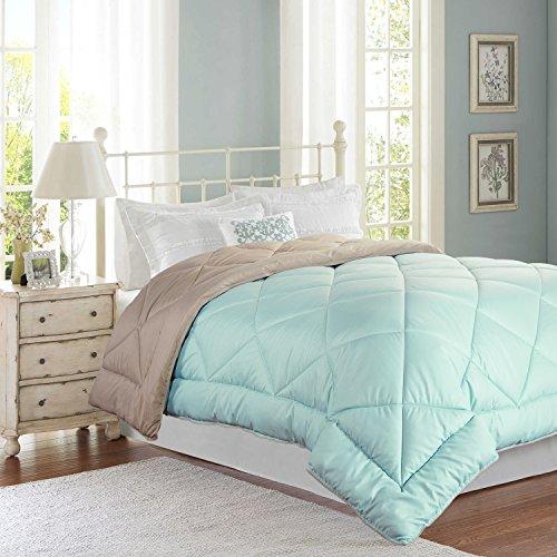 Bedsure Designs Reversible Down Alternative Comforter with Corner Ties, Full/Queen - Mint/Tan (Reversible Comforter Full compare prices)