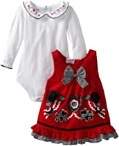 Nannette Baby-Girls Newborn 2 Piece Corduroy Heart Jumper Set, Red, 3-6 Months