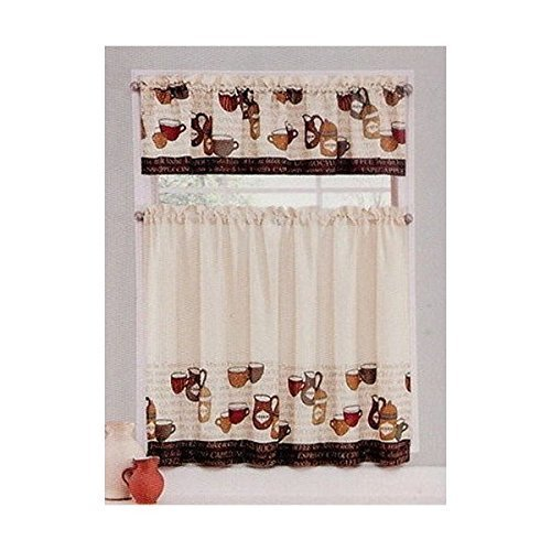 "Coffee Talk Beige Brown Earthtones 28"" Wide X 36"" Length Tier Set and 56"" Wide X 14"" Length Valance by Ellery"