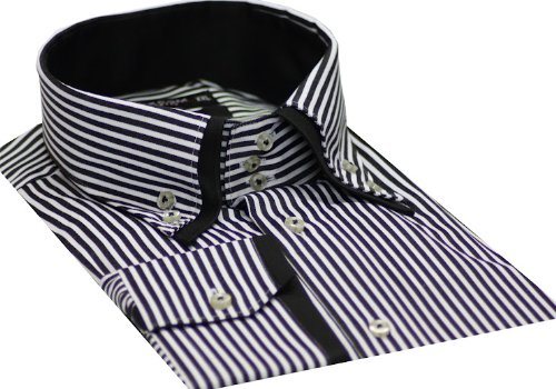 Italian Design Button Down Men Formal Casual Shirts Black Strips Colour Slim Fit