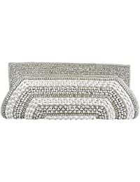 White Pearl Droplet Beads Clutch Bag
