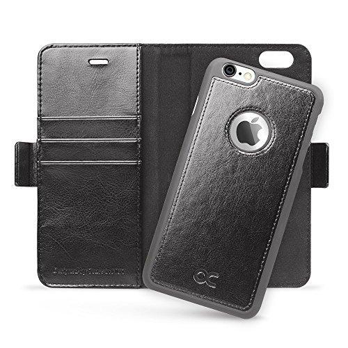 OCASE-iPhone-6S-Cover-di-Pelle-a-Portafoglio-Cover-Sottile-per-iPhone-6-Free-per-la-protezione-dello-schermo-inclusa-Nero