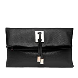 Abshoo Women Clutch Purse Evening Faux Leather Clutch Bags (Black)