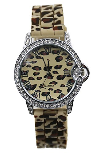 Luk T-Shop Women Leopard Resin Strap Print Pattern Dial Quartz Movement Fashion Wrist Watch