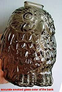 Wise old owl smoked glass coin bank libbey glass company canada 1950 60s other - Wise old owl glass bank ...