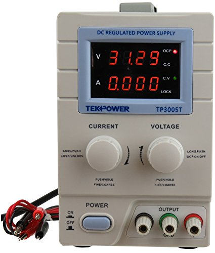 Tekpower TP3005T Variable Linear DC Power Supply, 0 - 30V @ 0 - 5A with Alligator Cable and Power Cord,Upgraded TP3005D,HY3005D, Mastech (Voltage Supply compare prices)