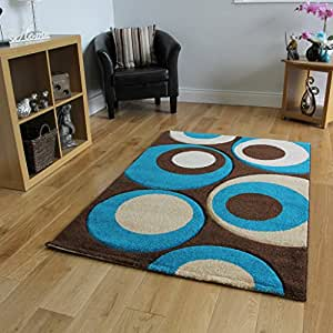 Havana 915 Thick Chocolate Brown And Teal Blue Living Room Rug 180 Cm
