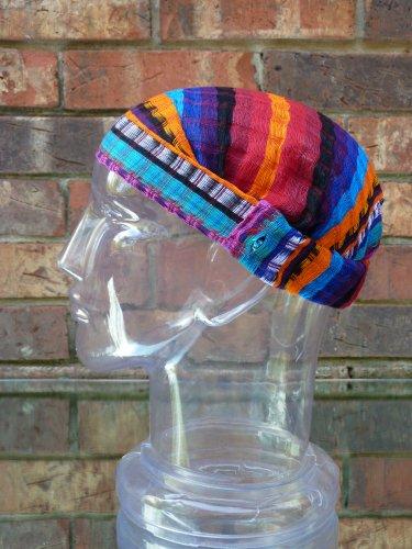 Inspirit Arts Large Pink Headband Expandable Handwoven Open Net Weave Lightweight Bandana Headwrap Elastic 100% Cotton Hair Scarf front-384598