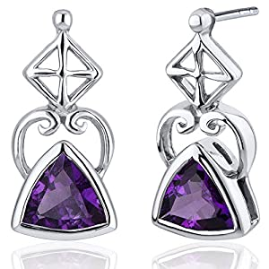 Ornate Class 1.50 Carats Amethyst Trillion Cut Earrings in Sterling Silver Rhodium Nickel Finish