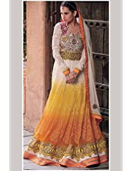 Off-white And Yellow Colour Resham Embroidered Georgette Anarkali Suit