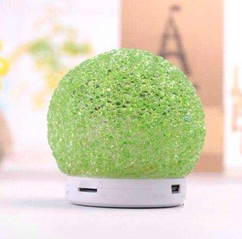 Superstar™ Mini Crystal Snowball Design Wireless Bluetooth Speaker With Led Light & Tf Card Reader Green