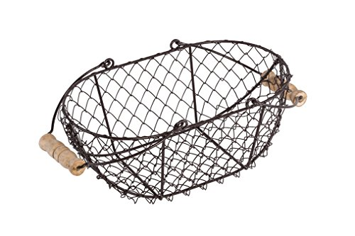 """10"""" Oval Wire Basket with Wooden Handles - Vintage Style - By Trademark Innovations 0"""