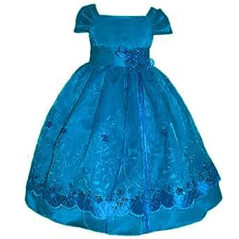 Amazon com size 10 girl holiday dress turquoise satin 2 4 6 8 10