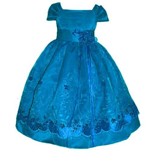 Size 10 - Girl Holiday Dress Turquoise Satin (2 4 6 8 10 12)