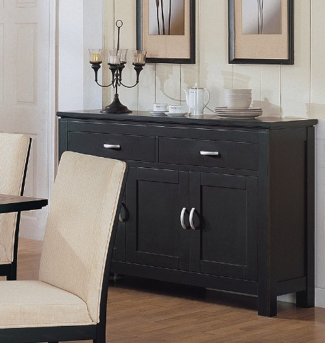 Cheap Contemporary Style Black Finish Sideboard Buffet/Server (VF_101225)