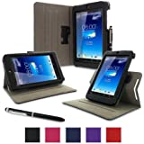 rooCASE Asus MeMO Pad HD 7 Case - ME173X Dual View Muti Angle Stand Folio Cover - BLACK (With Auto Wake / Sleep Cover)