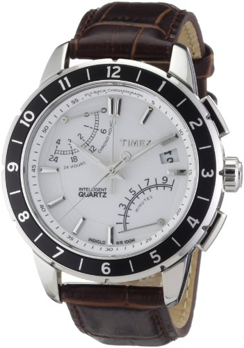 Timex Intelligent Quartz Men's Luxuary Flyback Chronograph Watch with Brown Leather Strap and White Dial - T2N496