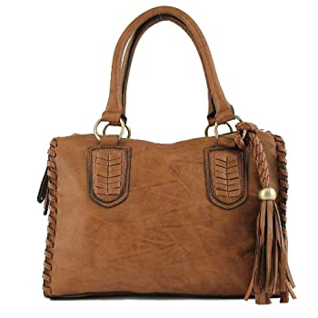 Scarleton Vintage Top Zip Satchel H111304 - Brown. Please note: actual color may vary from picture due to computer settings.