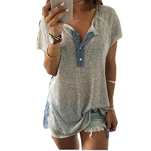 Gillberry Women Loose Casual Button Blouse T Shirt Tank Tops (XXL) (Plus Size Casual Tops compare prices)