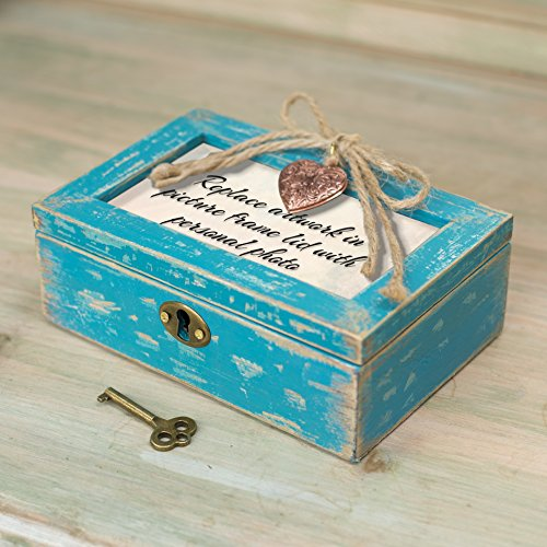 Faith Makes All Things Possible Teal Wood Locket Jewelry Music Box Plays Tune Amazing Grace 4