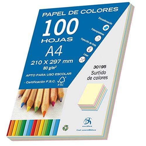 Dohe 30195 - Pack de 100 papeles A4, 80 g., multicolor pastel